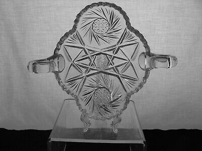 American Brilliant Cut Glass 2 Handled Pinwheel Design Nappy Bargain Antique
