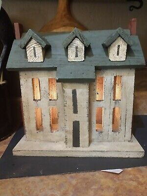 Primitive Rustic Lighted Wooden House Decor  Chimneys Country