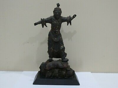 Antique CHINESE CARVED WOOD FIGURE, LACQUERED, TEMPLE GUARDIAN