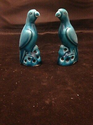 Chinese Old Pair Turqoise Blue Glazed Porcelain Parrot Figures Beautiful!