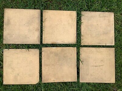 "6 X Vintage Antique Minton Tiles 6"" Square Beige / Light Brown"