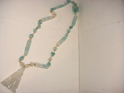 Nice vintage Mexican jade stone light green Mayan Aztec carved face necklace