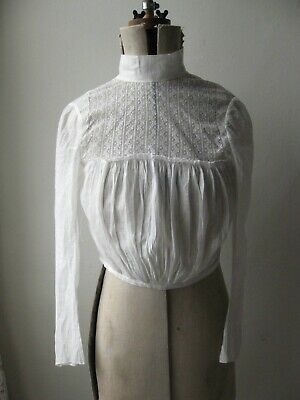 Antique Victorian Edwardian white cotton lawn lace long slv high neck blouse. XS