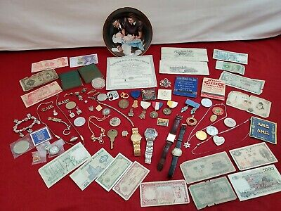 Junk drawer lot,Wenger swiss Military, Seiko,Old money, Medals,jewelry, Exonumia