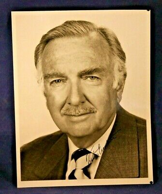 Walter Cronkite Publicity Pre-Printed  On Negative Signed Photograph