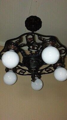 Antique Art Deco 5 Light Chandelier Polychrome 1920s Vintage Rare 2 Of 2