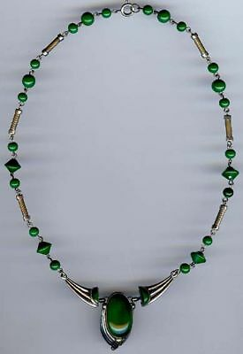 Vintage 1930'S Art Deco Chrome & Green Glass Necklace