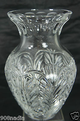 Vintage Cut Glass Or Crystal Flower Vase Beautiful 9 1/2'' Tall Art Deco Style