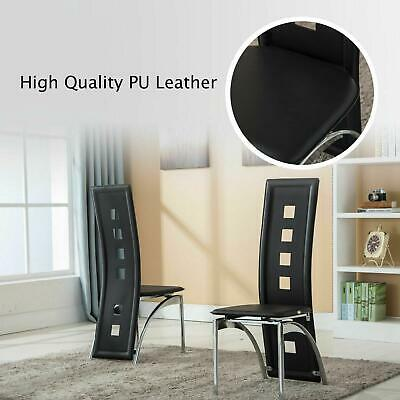 Modern Set of 4 Dining Side Chairs Leather Dining Room Furniture Black
