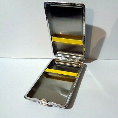 Cigarette Case Slim Stainless Steel Case holds 12pcs Smoke Holder Faux Leather