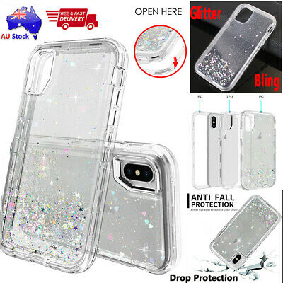 Silicone Sequin Glitter Bling Clear Shockproof Case Cover Fr iPhone 11Pro Max/Xs