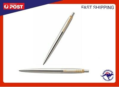 PARKER JOTTER STAINLESS STEEL GT BALL PEN GOLD PLATED TRIM Ballpoint PARKER NEW