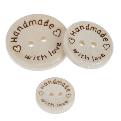 """9 Natural Unfinished Wood Mixed /""""Handmade with Love/"""" Buttons 30mm Sewing 1064"""