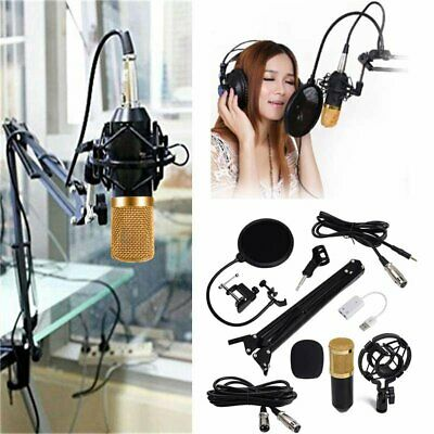 BM800 Condenser Microphone Pro Audio Studio Sound Recording+Arm Stand+Pop Filter