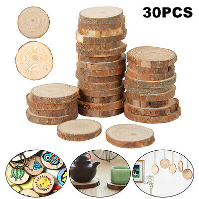 30Pcs Wood Slices Chip Round Pads Home Decoration DIY Craft painting Photography