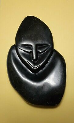 Collectable Shona Stone Carved Figural Head Paper Weight Sculpture