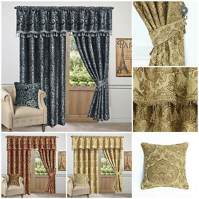 Ready Made Jacquard Fully Lined Pencil Pleat Pelmet Pair  Curtains & Tie Backs