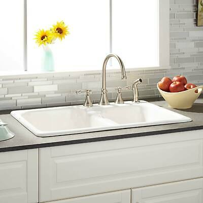 """33"""" Elgin 60/40 Offset Double Bowl Cast Iron Drop in Kitchen Sink White"""
