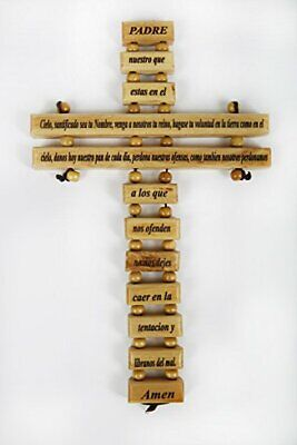 "9"" Olive Wood Padre Nuestro Prayer Wall Cross"