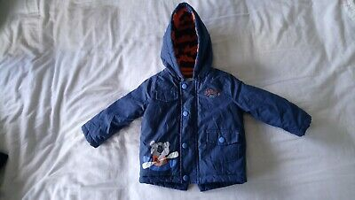 BOYS Mothercare Dark Blue WINTER WARM COSY JACKET 6-9 MONTHS