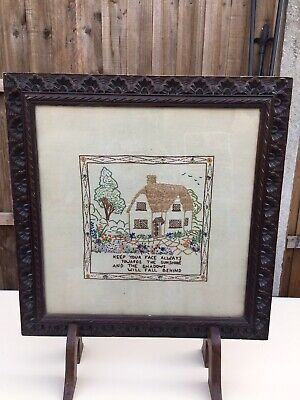 VINTAGE  ART DECO 1920s EMBROIDERED OAK FRAME FIRE GUARD FIREPLACE SCREEN