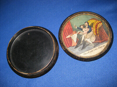 Lovely Antique French 19th Century Cheeky Colour Print Papier Mache Snuff Box