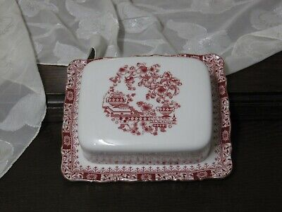 Butterdose mit Deckel 17 cm  Seltmann Weiden Theresia China rot