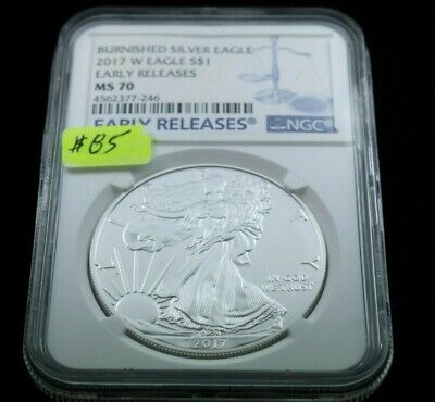 2018-W Burnished $1 American Silver Eagle NGC MS70 Flag ER Label Retro Core