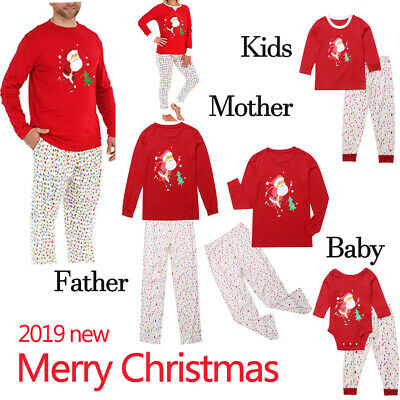 Christmas Pyjamas Family Set Elf Xmas Sleepwear Mum Dad Brother Sister Nightwear