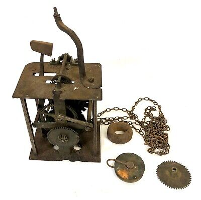 Very Early Antique Longcase Lantern Clock Hook and Spike Movement