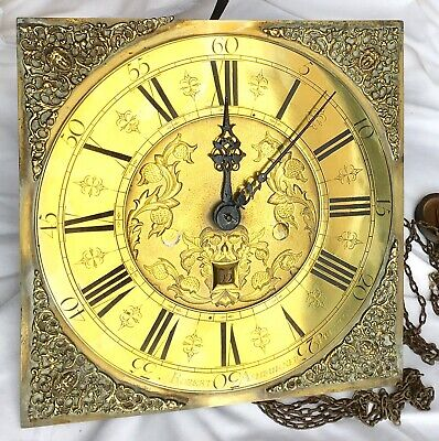 30 Hour Brass Longcase Grandfather Clock Dial Movement Robert Asburner Preston