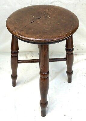 Antique Victorian Ash and Elm Farmhouse Kitchen Stool / Milking Stool : 4 legs