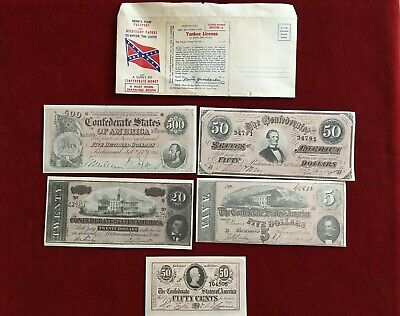 Yankee License To Enter The South With Papers & Confederate Souvenir Money