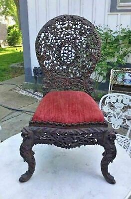 Vintage Antique Chinese Figural Pierce Carved Slipper Chair