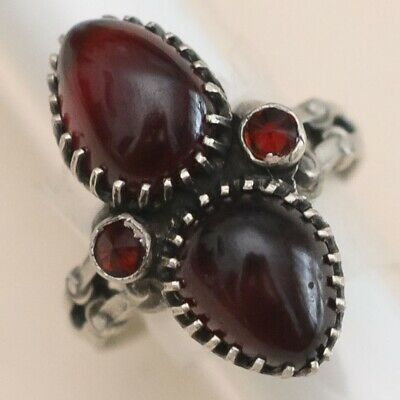 Antique Victorian Edwardian French Sterling Silver Carbuncle Garnet Sz 7 Ring