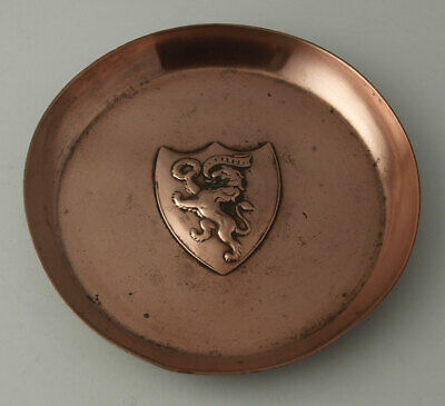 Joseph Sankey Arts & Crafts Copper Pin Dish With Armorial Crest C.1900