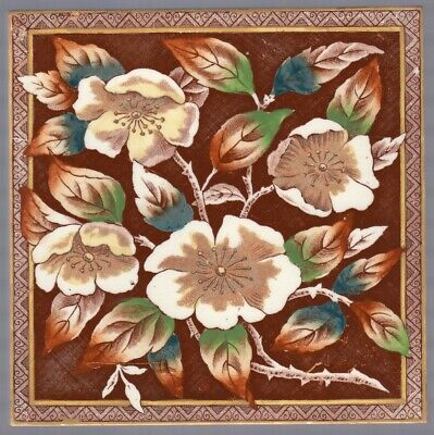 T G & F Booth - c1887 - Wild Roses - Registered Design - Antique Victorian Tile
