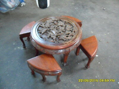 Very Good Quality Heavily Carved Oriental Table With 4 Triangular Tables Under