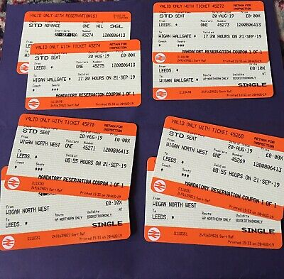 Unused Train Tickets Wigan To Leeds Return For 2 On 21 September
