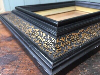 Antique French Picture Frame Gilt Ornate Gold Black Ebonised Glass Miniature