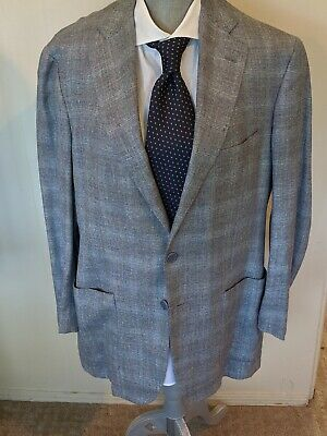 Luciano Barbera Gray and Blue Suit Jacket 44 (US) / 54 (European) 25% OFF!