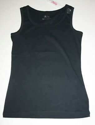 New Justice Girls 14 16 Year Solid Black Tank Top Undershirt Layering stretch