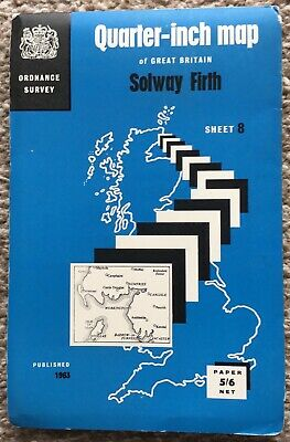 Old OS Map Solway Firth Sheet 8 1963 Ordnance Survey 1/4 Inch