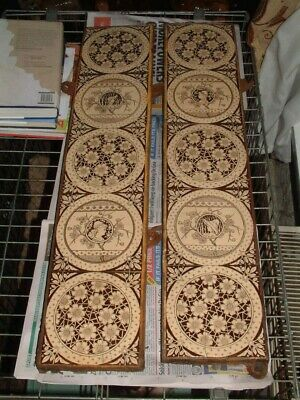 Antique Set Of Victorian Art Nouveau Fireplace Tiles In Cast Iron Surrounds