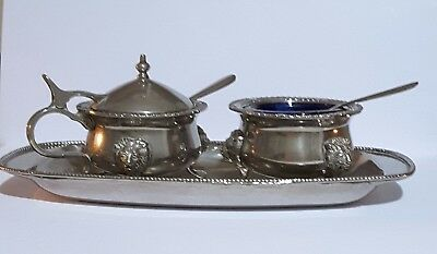 Vintage Silver  Plate Blue Glass Sauce and Mustard Set with Spoons and Tray.
