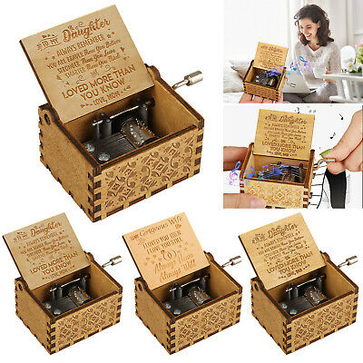 """To My Gorgeous Wife"" Wooden Music Box Engraved Musical Case Toys Kids Gifts New"