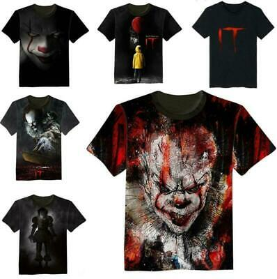 It Pennywise 3D Print T-Shirt Stephen King Horror Clown Black Color 2019