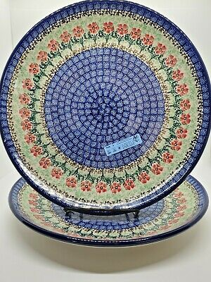 Hand Painted Polish Ceramic Pottery Dinner Plate Set Of 2.