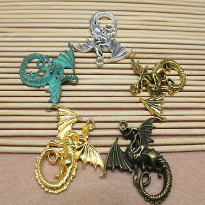 2/6PCS 46x43mm Multicolor Alloy Mini Charm Exquisite Dragon Pendant