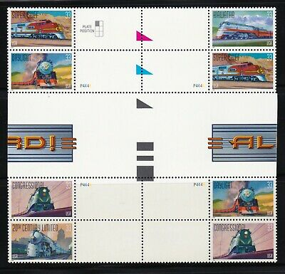 US #3333-37 33¢ All Aboard Trains - Set of 8 Gutter Pairs with Different Margins